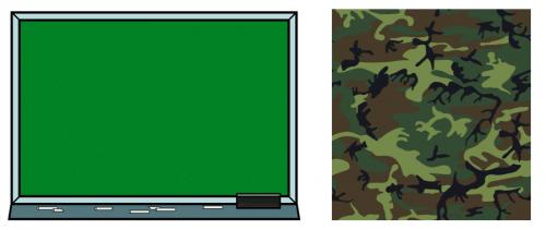 Un tableau avec des craies et un carré à motif kaki camouflage