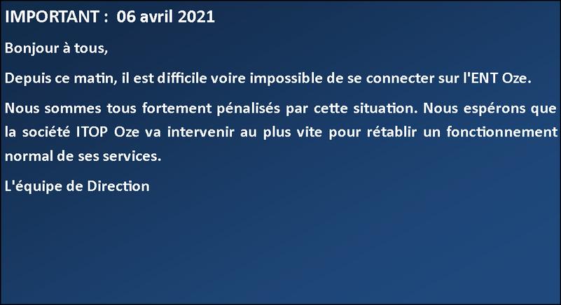 Message de La Direction 06 avril 2021